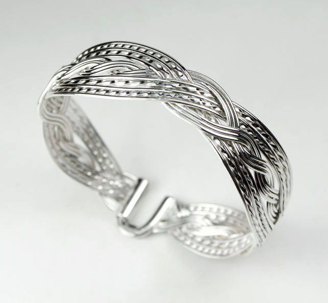 925 Sterling Silver Heavy Woven Double Twist Bangle Bracelet with U Hook Clasp