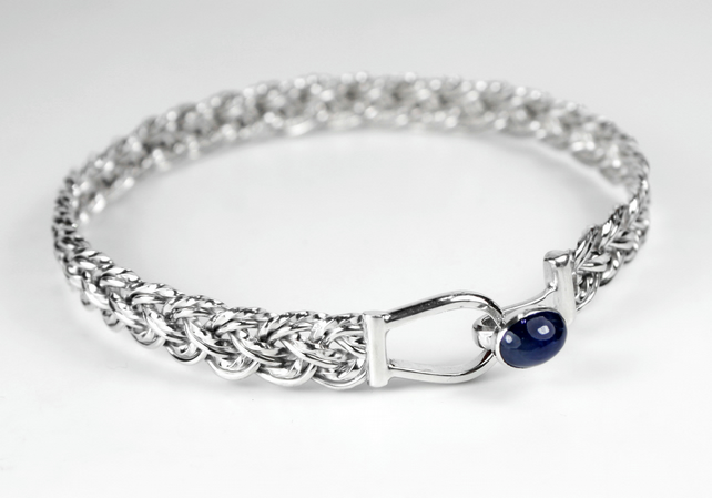 Sterling Silver 8 Strand Basket Weave Bracelet with Hook Clasp and Blue Sapphire