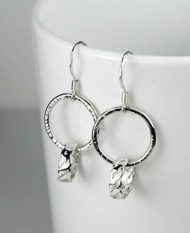 Sterling Silver Loop in Loop Earrings, Hammered, Twisted, Woven, Ear Wires