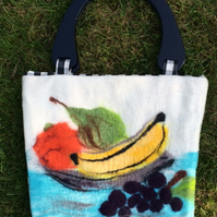 Gorgeous handmade Merino wool felt handbag with fruit design