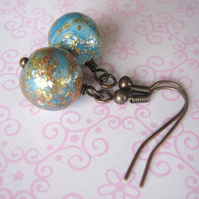 Sparkling blue - copper earrings