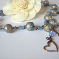 Light-blue - copper necklace