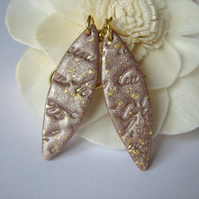 Hazelnut leaves - polymer clay earrings