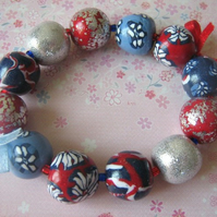 Red-blue flower bracelet