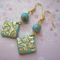 Turquoise-gold earrings