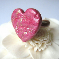 Pink-copper heart ring