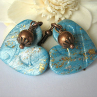 Turquoise-copper heart earrings