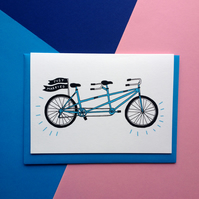 Just Married Tandem Bike Greetings Card
