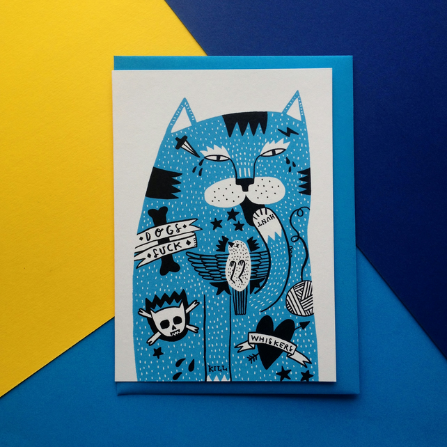 Tattoo Cat Greetings card - Birthday, blank, hello