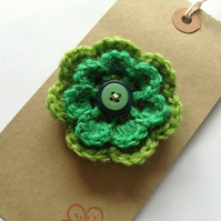 Vivid green crochet flower corsage