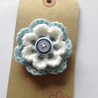 Baby blue and white flower corsage