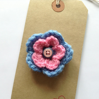 Candy pink and sky blue crochet flower corsage