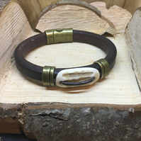 Hand Made Leather and Antler Bracelet