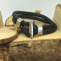 Twin Round Plaited Leather Cord Loop Bracelet