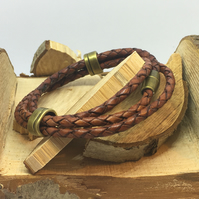 Plaited Leather Cord Tri Wrap
