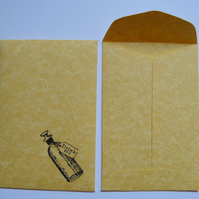 DRINK ME Envelopes, Set of 10 Handmade Parchment Envelopes for Weddings, Parties
