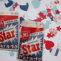 Patriotic Confetti, 500 Stars & Hearts, Red, White, Blue, in Vintage Bags