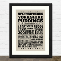 Yorkshire Pudding Recipe A3 Typographic Art Print