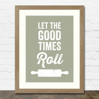 Rolling Pin Baking A3 Typographic Art Print