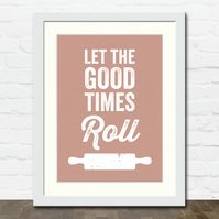 Rolling Pin Baking A4 Typographic Art Print