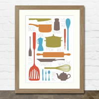 Cooking Collection A4 Typographic Kitchen Art Print