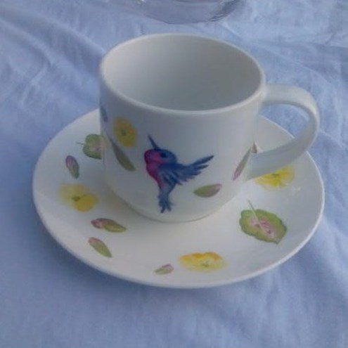 hand painted cup & saucer