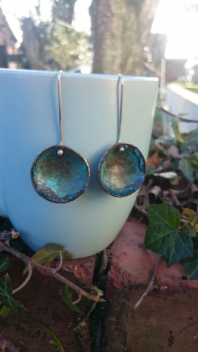 Full moons, silver and copper earrings