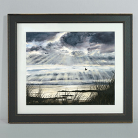 "Framed Giclée Print ""Flying Home, September Light"" 16"" x 14"""