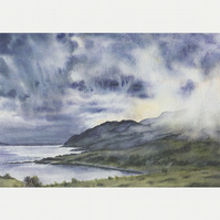 "A5 Greetings Card ""Clouds Descend on Ben Hiant"""