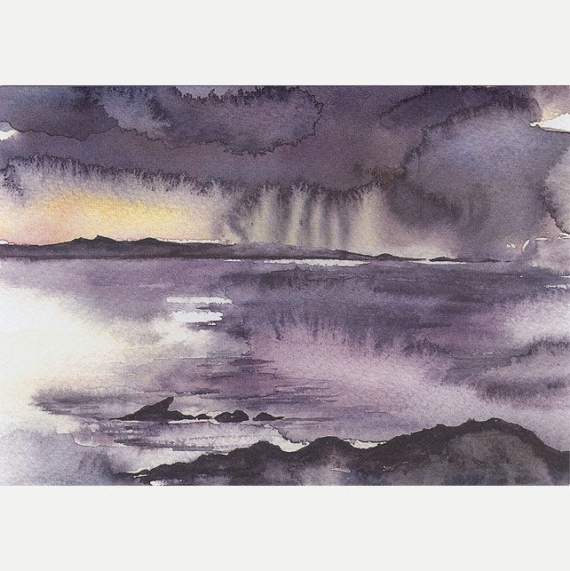 "A5 Greetings Card ""Rain over Coll"""