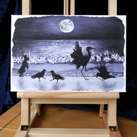 "Artist's Canvas Print ""Moonlight Ceilidh"" 12"" x 8"""