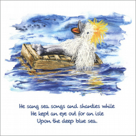 "Quotation Greetings Card ""Algy on his Raft"""