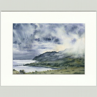 "Mounted Giclée Print ""Clouds Descend on Ben Hiant"" 9"" x 7"""