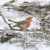 PACK OF 10 Christmas Cards Singing Robin