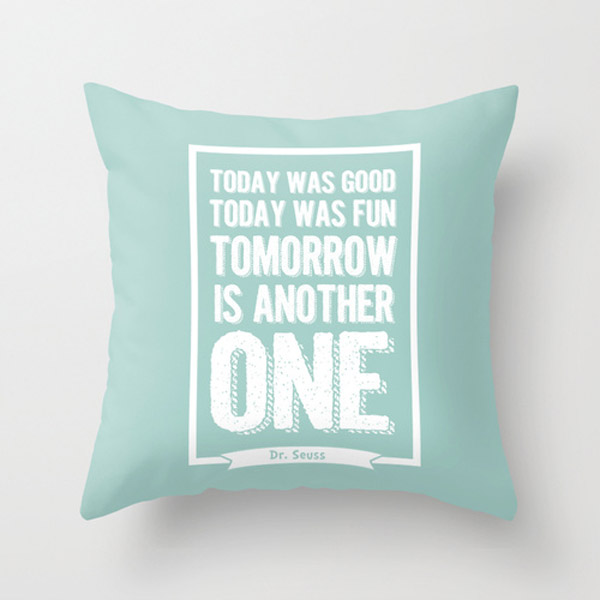 Dr Seuss Quote cushion - Green - Free shipping