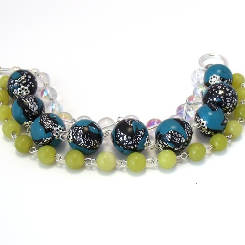 Turquoise polymer clay & yellow jade triple strand bracelet