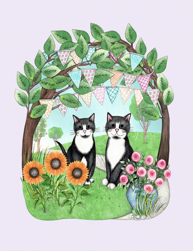 Two Cats and Bunting Print