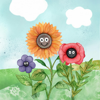 Happy Flowers Print