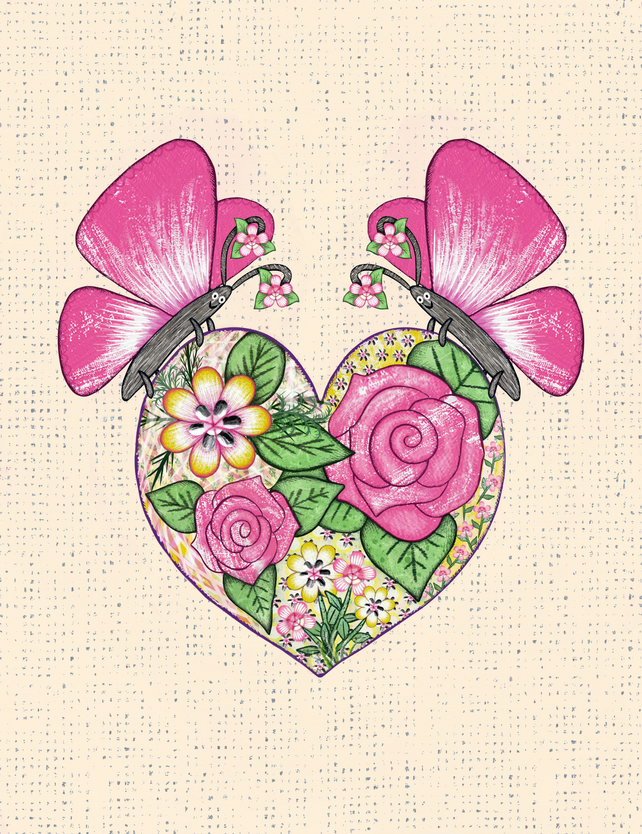 Butterfly and Heart Print