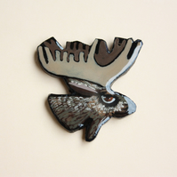 Moose Brooch - Polymer Clay Brooch- Jewellery