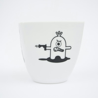 Coffee Cup - White Ceramic Mug with funny Monsters