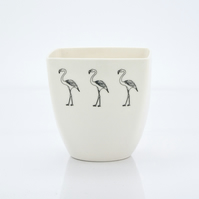 Handmade Porcelain Coffee Cup Decorated with Flamingos