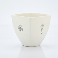 Handmade White Porcelain Coffee Cup Decorated with Sea Creatures
