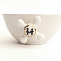 Soup Bowl - White Porcelain Handmade Bowl with Faucet Handles