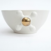 Handmade Ceramic Bowl Decorated with Real Gold