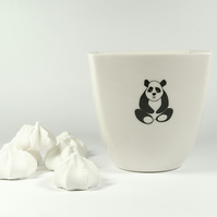 Handmade White Porcelain Coffee Cup Decorated with Panda Bear