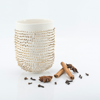 Porcelain Mug with Spikes Covered with Real Gold