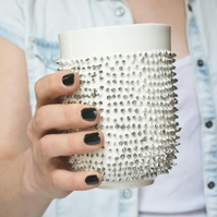 Porcelain Mug with Spikes Covered with Real Platinum