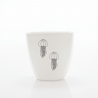 Handmade White Porcelain Coffee Cup Decorated with Jelly fishes