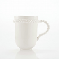 Porcelain Mug with Braid - White Artisan Mug for Coffee or Tea